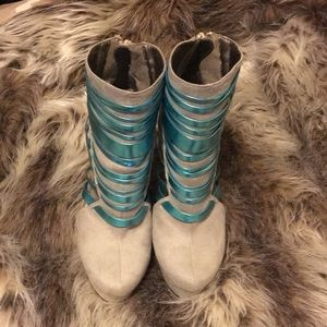 Teal and Tan Ankle Boot